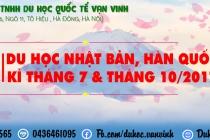 TUYỂN SINH DU HỌC NHẬT BẢN - HÀN QUỐC KỲ THÁNG 7, THÁNG 10-2017